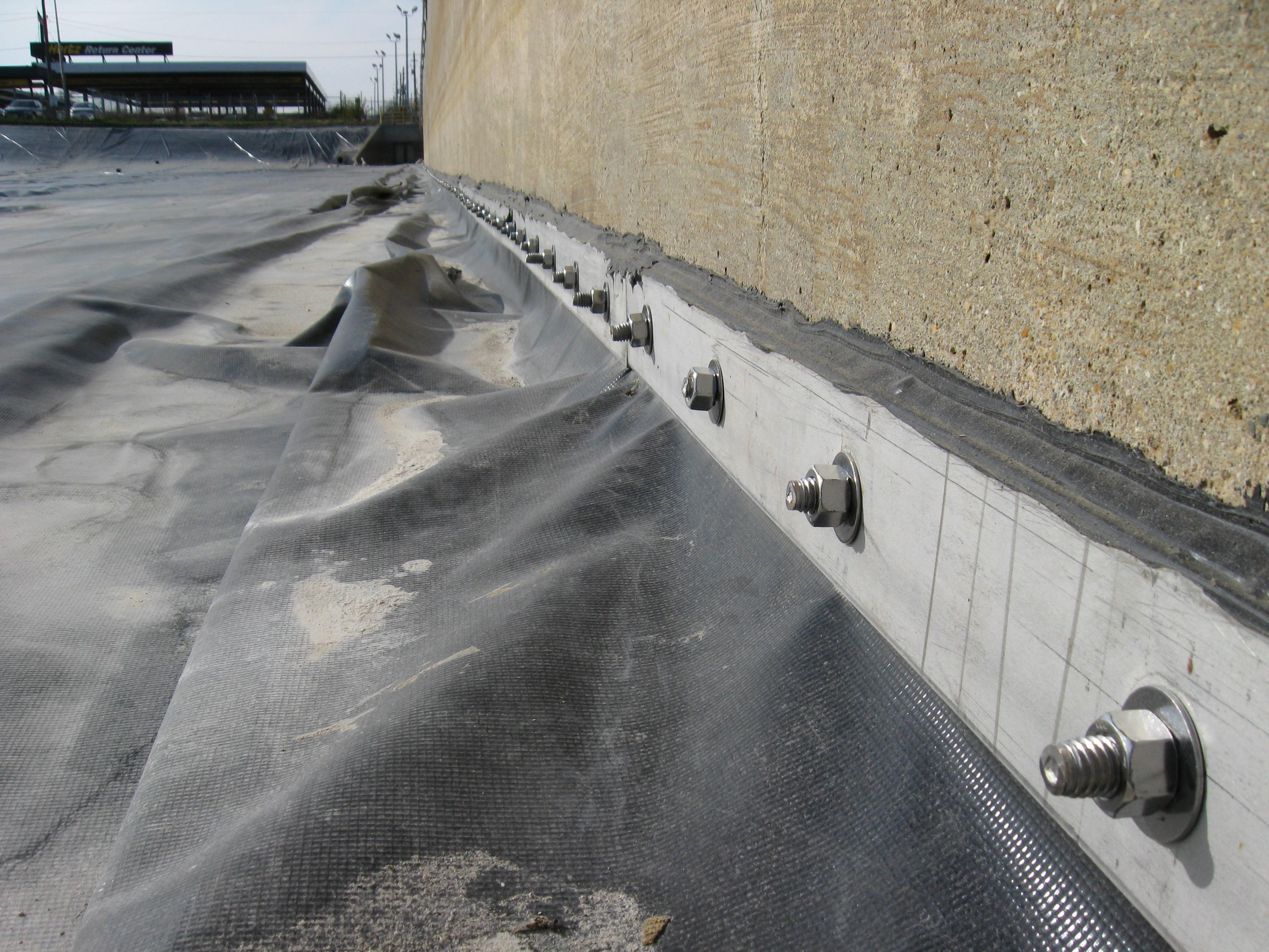 Geomembrane Batten Detail For Concrete Connection Of Pvc Liner
